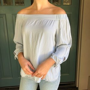 UO BDG Off the Shoulder White and Blue Stripe Top